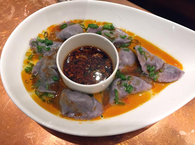 Purple yam boiled dumplings.