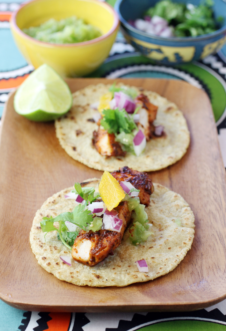 Fish tacos with a rich adobo marinade -- from Nopalito's new cookbook.