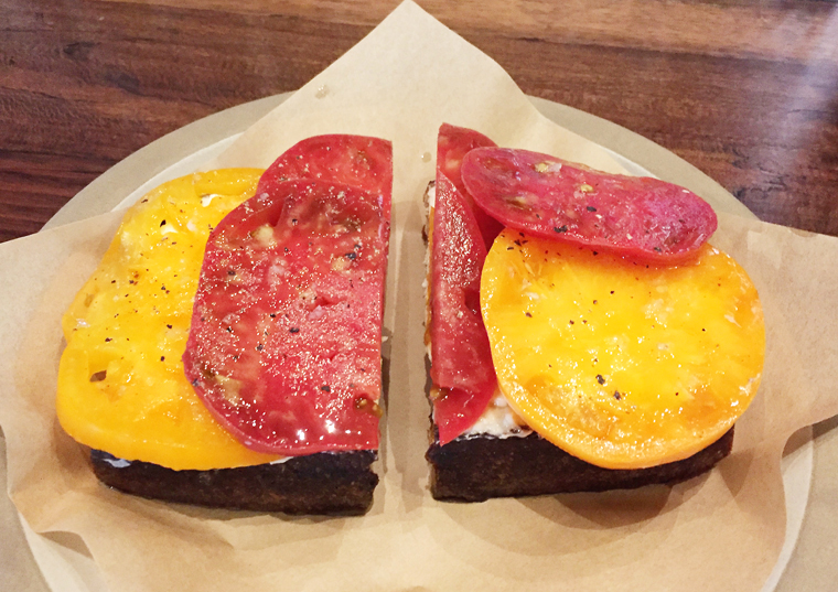 Tomato tartine -- simple, yet a total standout.