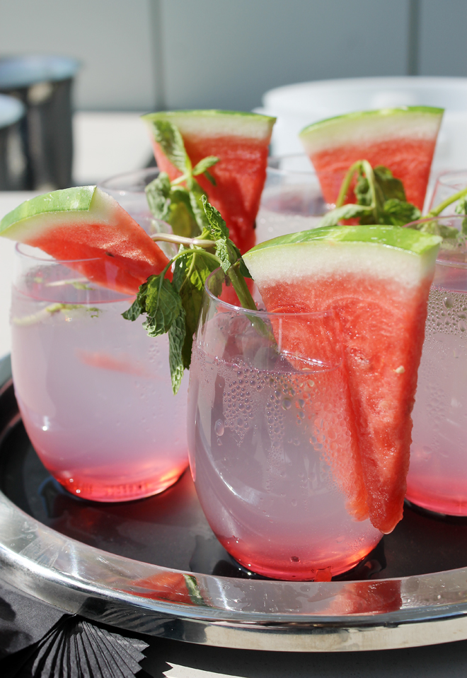 Watermelon coolers made with mint and -- yes -- watermelon from the garden.