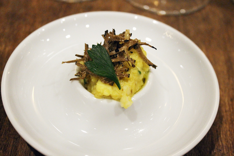 The classic pairing of eggs and black truffles.