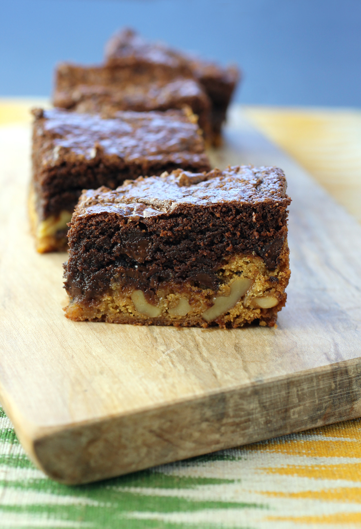 A chocolate brownie and a butterscotch blondie all in one bite.