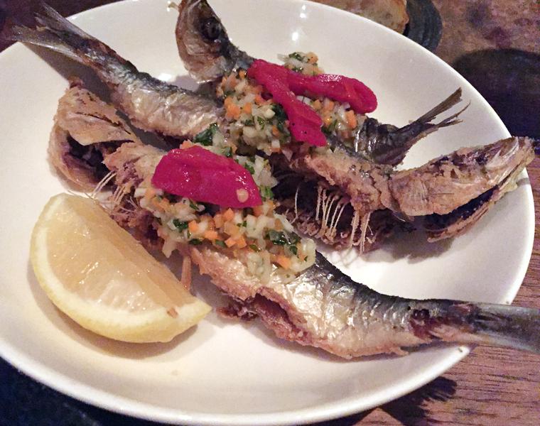 Fried sardines.