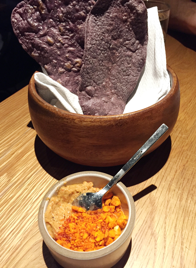 Complimentary purple tortillas and Marcona almond dip.