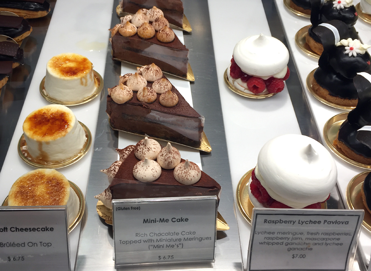 The display case in the pocket-sized patisserie.