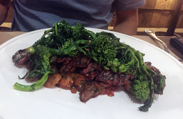 Steak and greens.