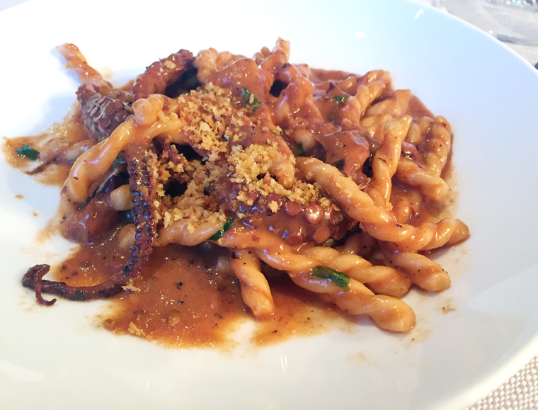 More octopus -- this time in the famous bone marrow pasta.