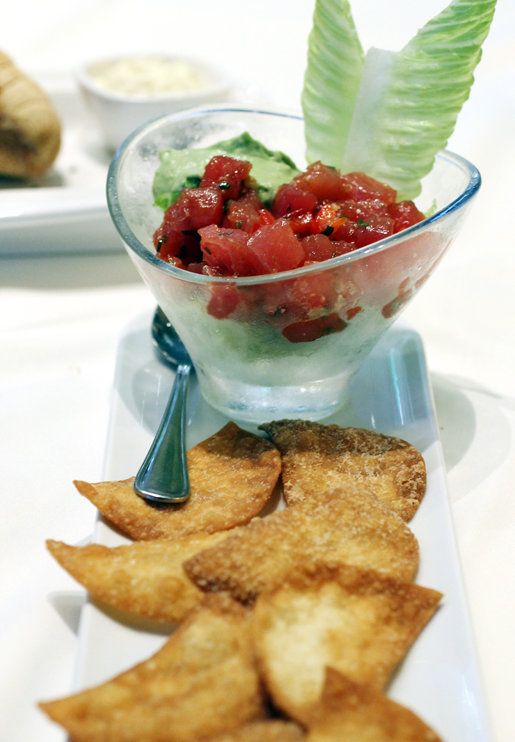A goblet of ahi poke at Fleming's Santa Clara.