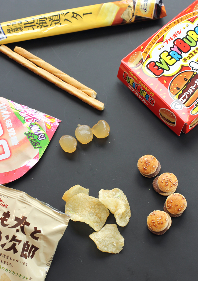 "Glico Giant Pretz, UHA Gummy, Calbee ""Potato Farm'' Green Bean Potato Chips, and Every Burger Chocolate Cookies."