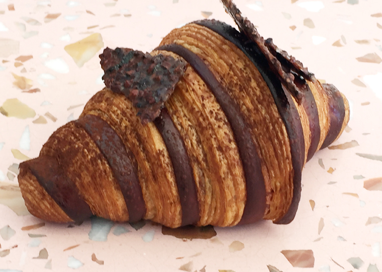 You won't believe how much chocolate is in this croissant.