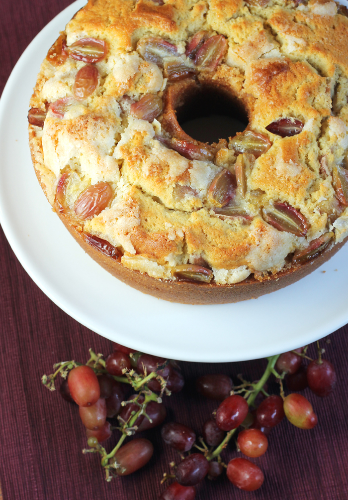 Buttery, moist, and dotted with grapes.