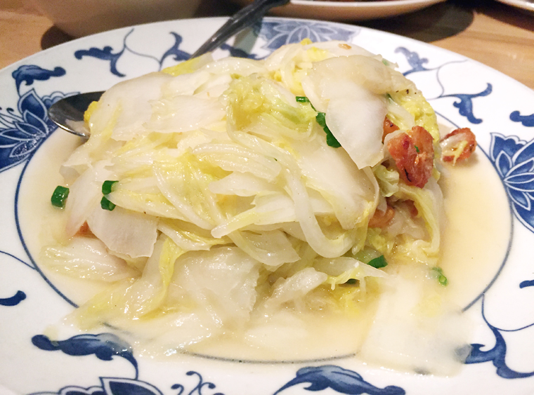 Cabbage with dried shrimp.