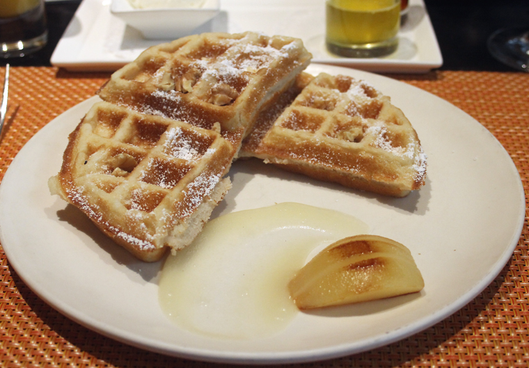 Malted waffle with roasted pear.