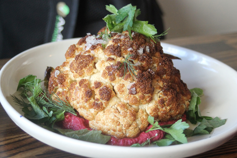 The rotisserie-roasted whole cauliflower.