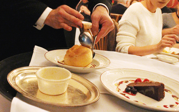 Unmolding the souffle at the table.
