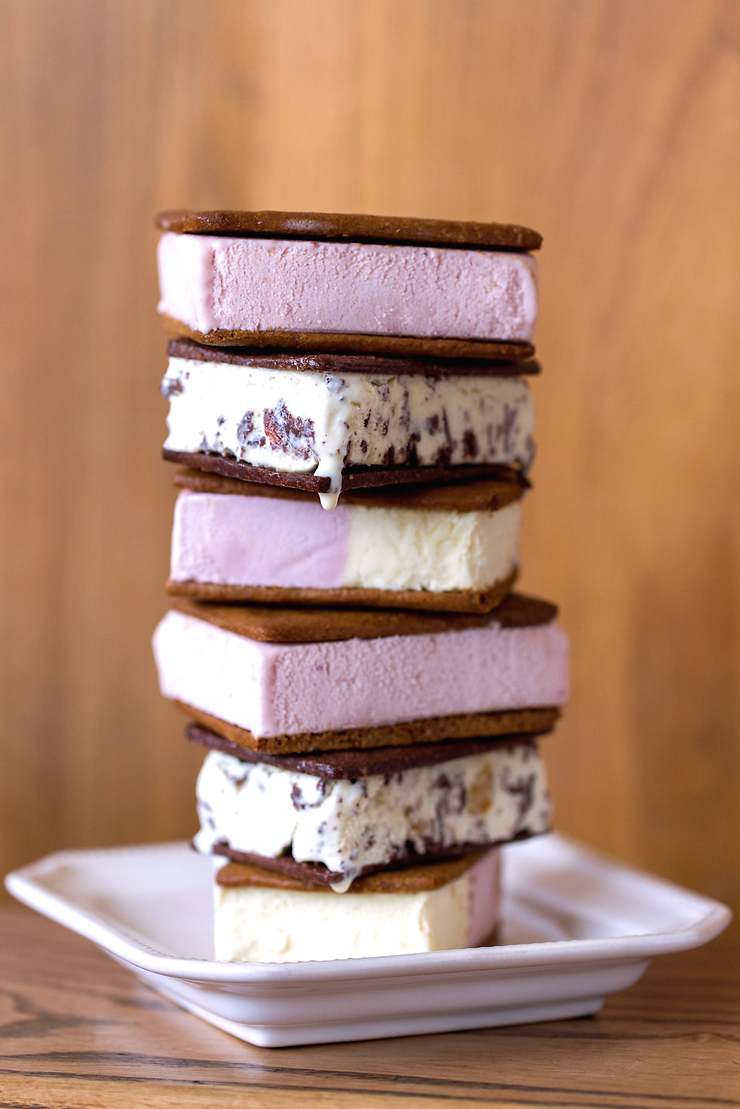 A tower of ice cream sandwiches at Ici Ice Cream. (photo by Tory Putnam)