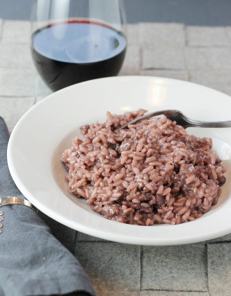Barbera wine colors and flavors this hearty risotto.