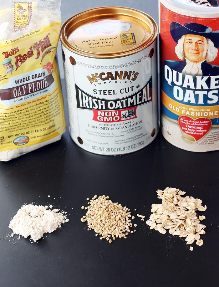 Oat flour, steel-cut oats, and rolled oats.