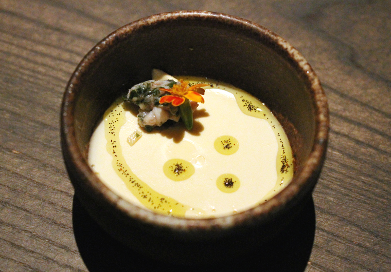 Uni panna cotta accented with vanilla oil.