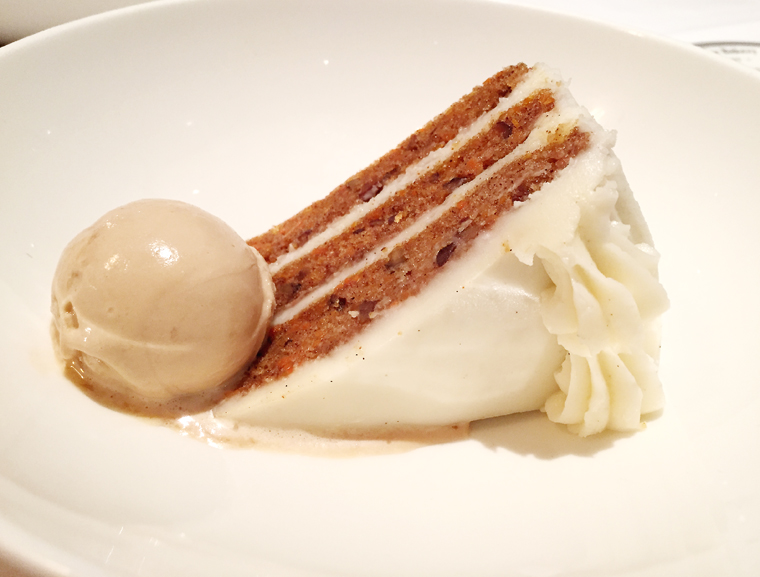 Pastry Chef Janina O'Leary's carrot cake with caramel ice cream. (photo by Carolyn Jung)