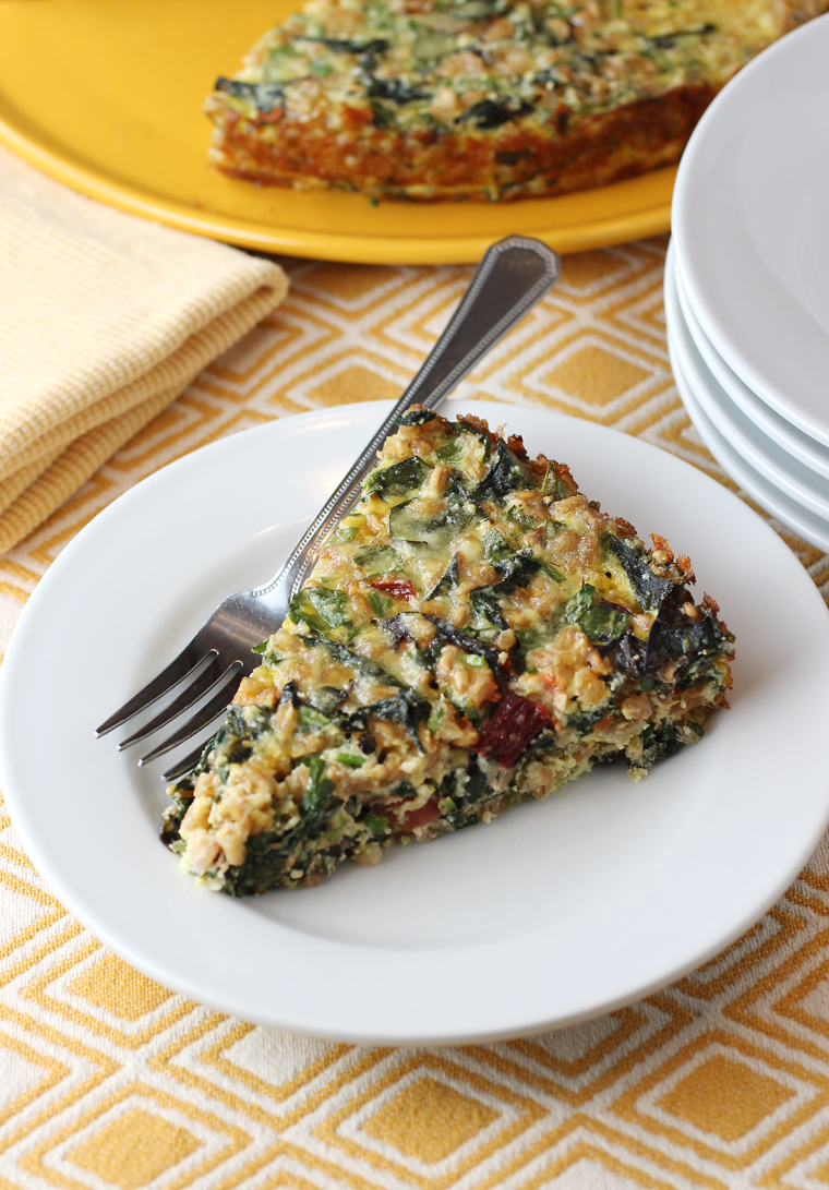 A most versatile torta filled with eggs, veggies, fresh herbs and nutty farro.