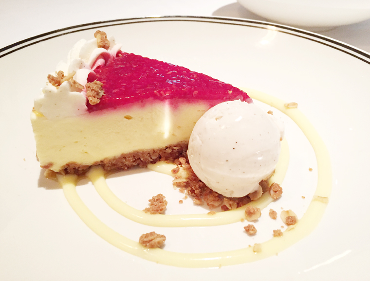 Fromage blanc cheesecake with oat crumble, and vanilla ice cream. (photo by Carolyn Jung)