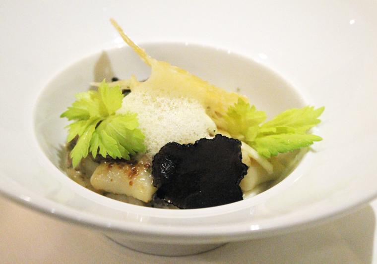 Potato gnocchi with preserved truffle.