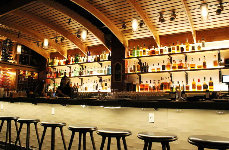 The bar with its wine barrel-like ceiling.