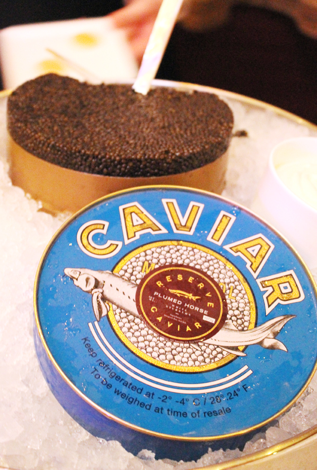 A tasting of Plumed Horse caviar.