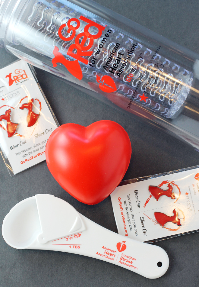 American Heart Association goodies, plus a Macy's gift card.