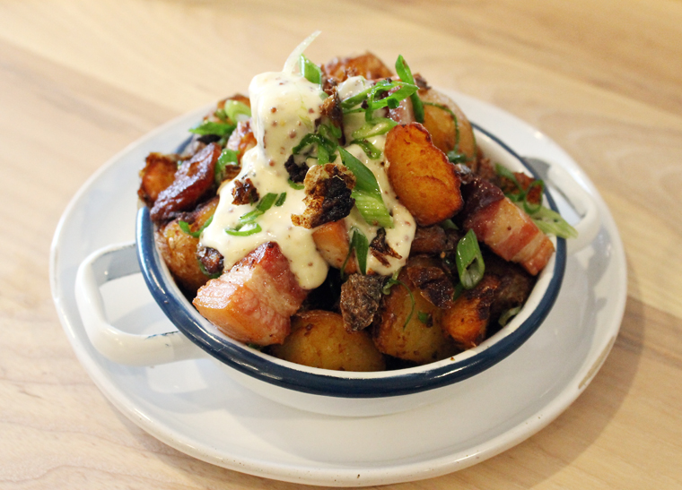 Crispy potatoes with bacon and onion.