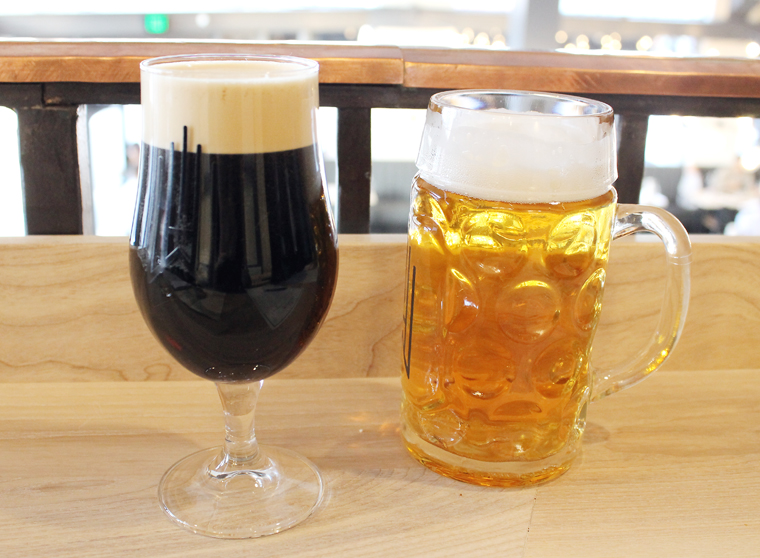Imperial Peanut Butter Stout (Left) -- yes, peanut butter. And the popular Czechvar lager (Right).