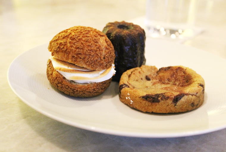Banana-cream cream puff, chocolate chip cookie and canale.