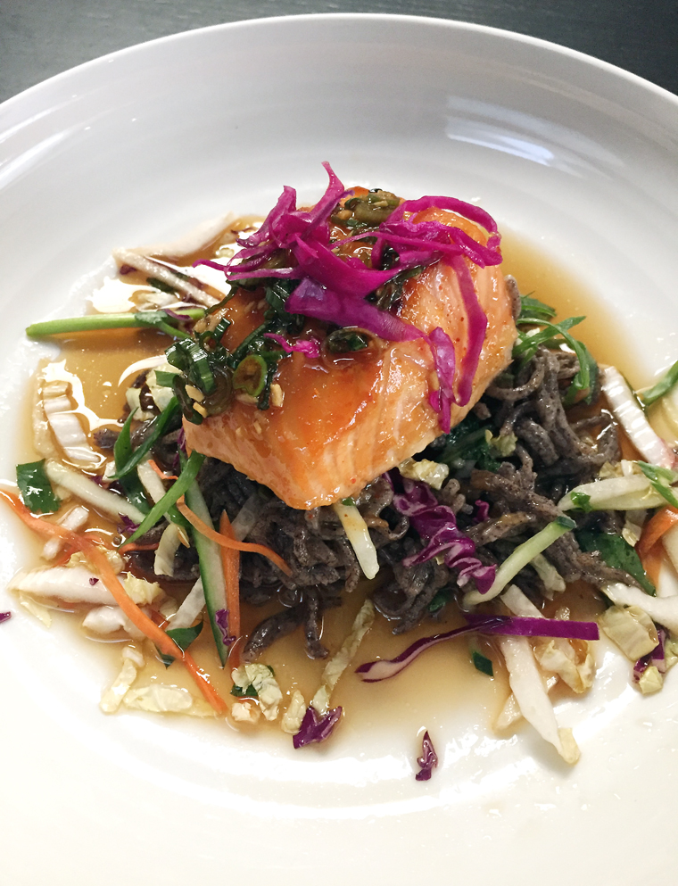Miso-glazed salmon, kalo soba and slaw at a taro-centric lunch at Heritage Restaurant and Bar.