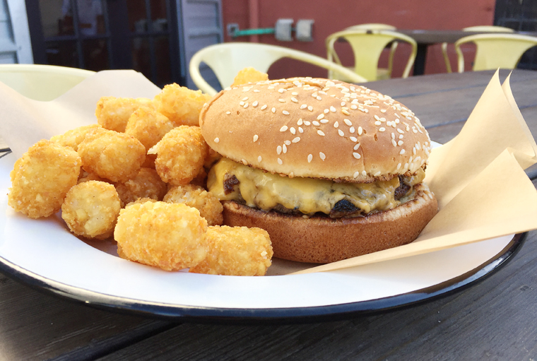 Cheeseburger with tater tots.