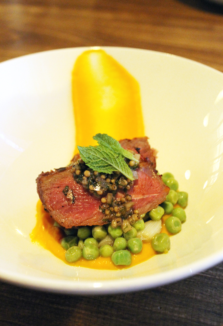Lamb with carrot puree at Danville Harvest.