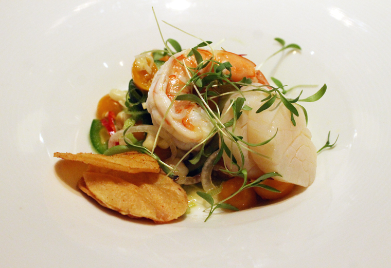A tangy, spicy passion fruit ceviche.