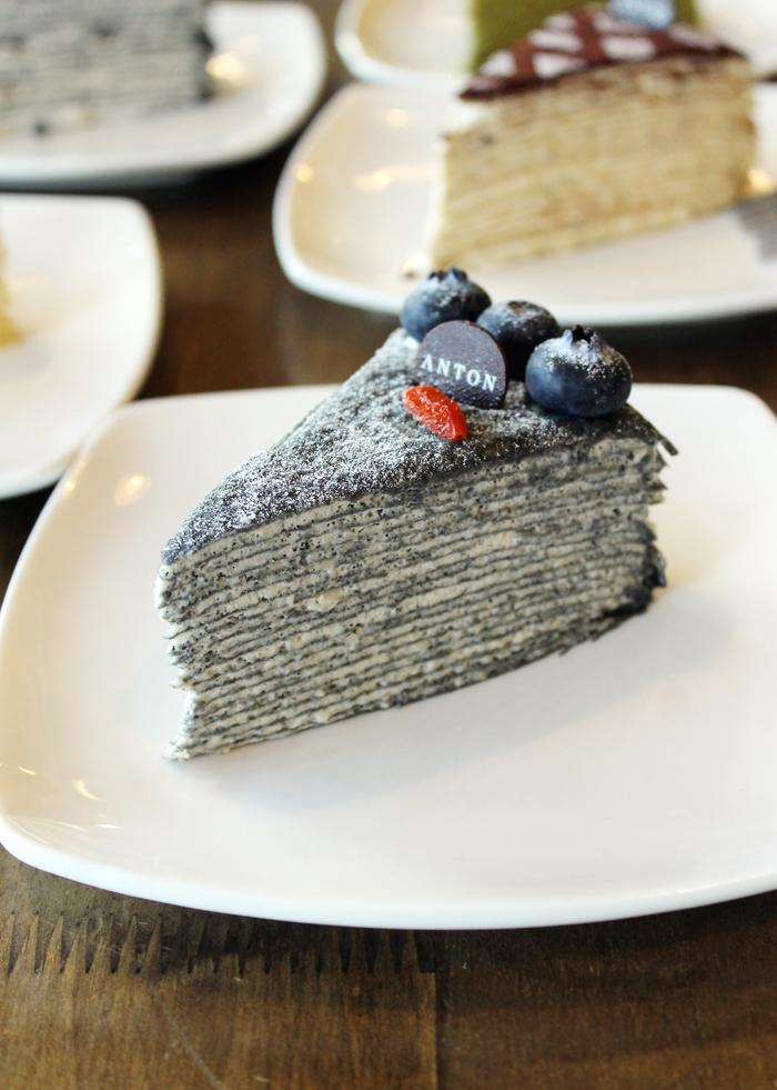 Black sesame crepe cake.