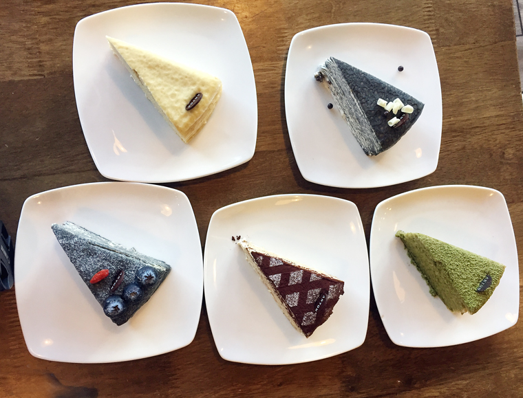 A tasting of crepe cakes.