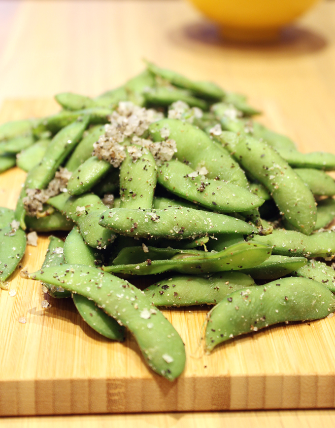 A side of edamame.