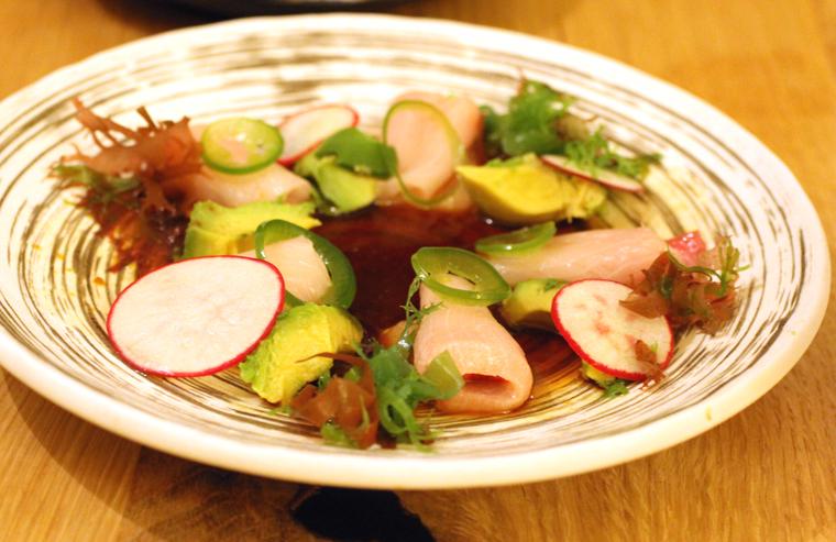 Delicious hamachi in a warm ponzu dressing.