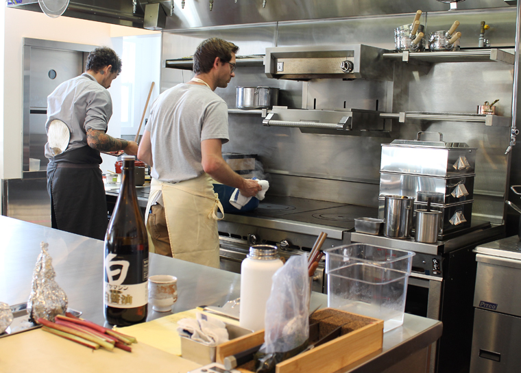 Executive Chef Matthew Kammerer (right) in the kitchen that doubled in size.