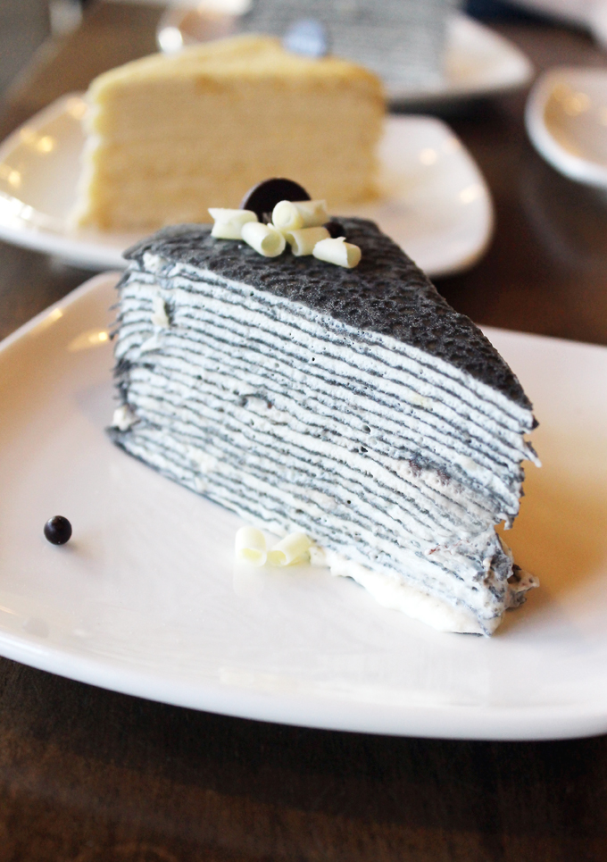 Hokkaido milk crepe cake done up with activated charcoal for a unique look.