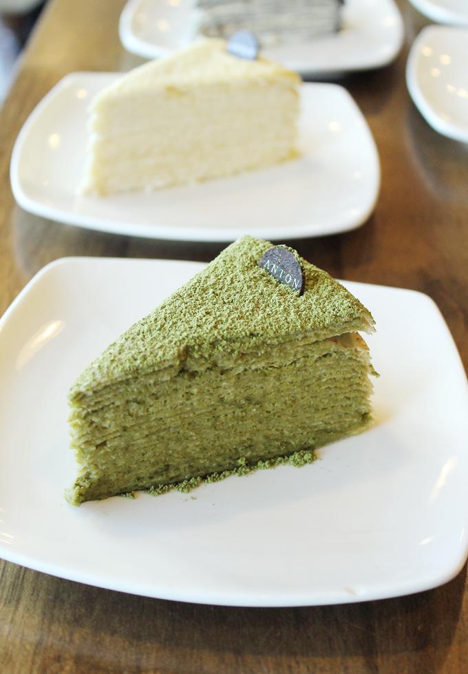 Matcha crepe cake.