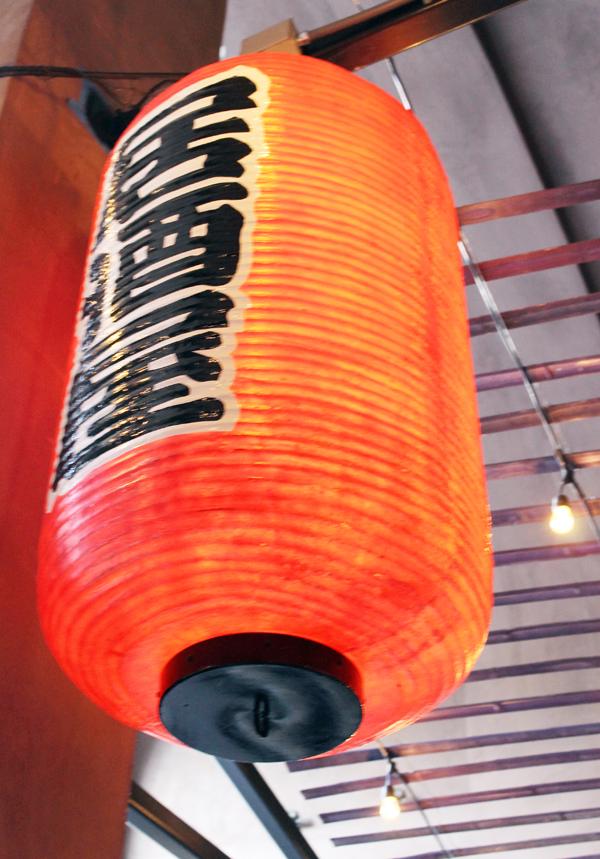 Lanterns overhead in the beer garden.