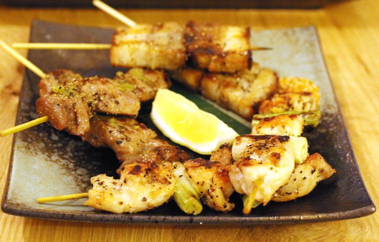 The perfect beer food -- yakitori.