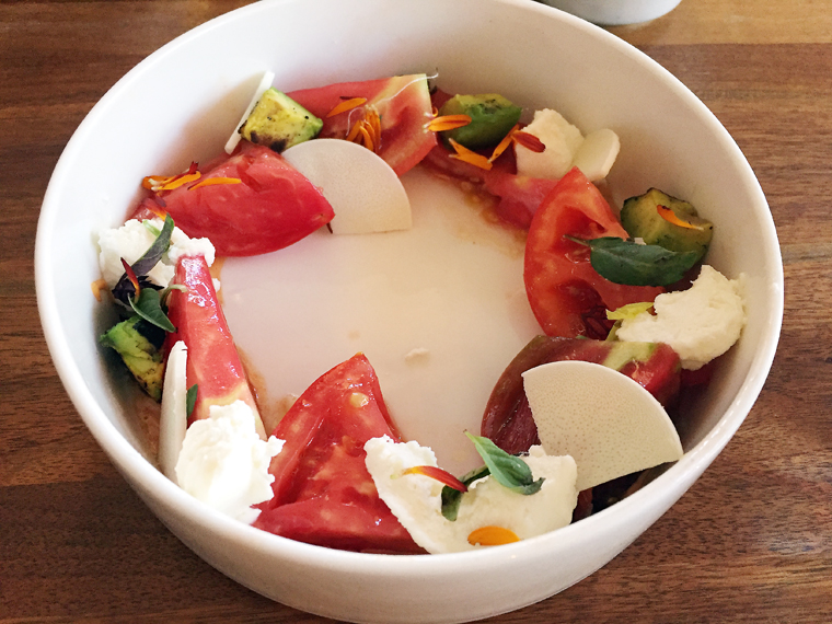 Heirloom tomatoes and ricotta.