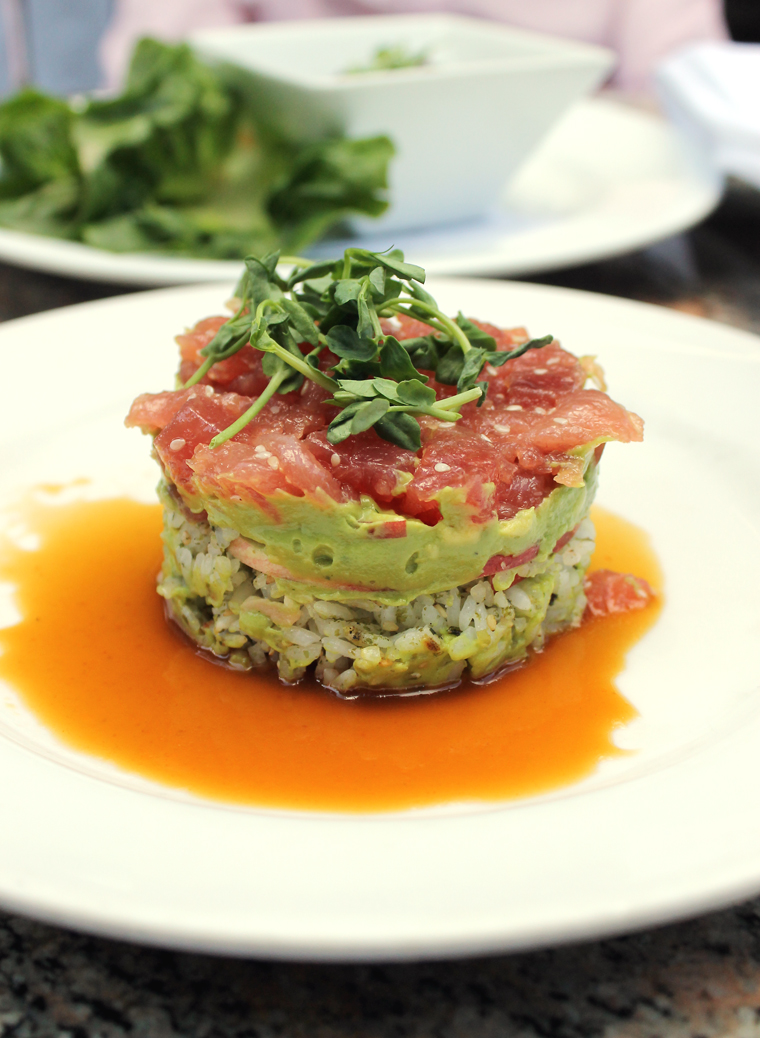 Tuna stacked atop avocado and sticky rice at Bridges.