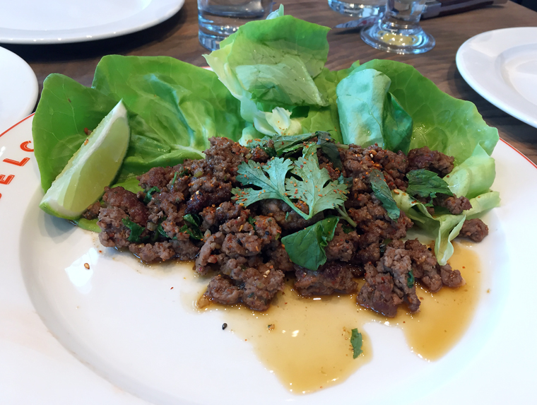 A big mouthful of flavor in lamb larb.