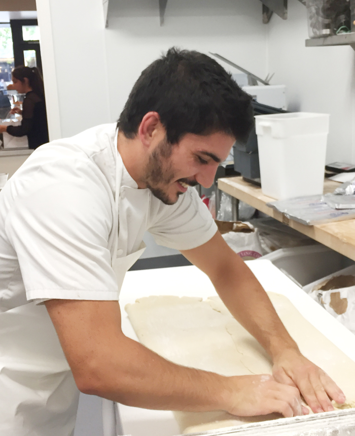 Pastry Sous Chef Xan Billiotte making laminated dough.